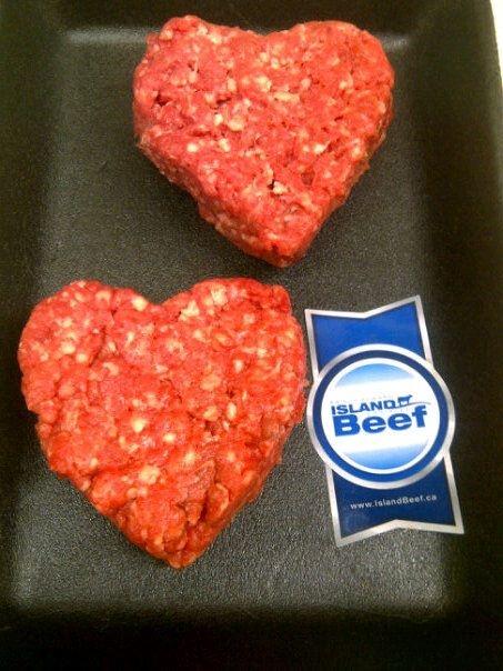 Valentines day PEI grass fed beef patties at Brady's Meat & Deli in Waterloo, Ontario http://bradysmeats.com/