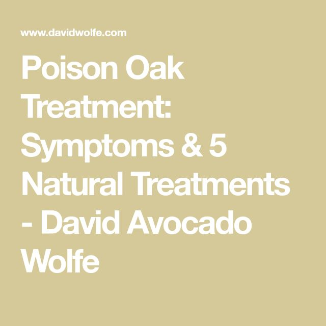 Poison Oak Treatment: Symptoms & 5 Natural Treatments - David Avocado Wolfe