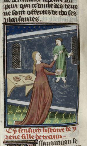 Royal 16 G V   f. 73v   Irene. Medieval female artist painting. art studio.