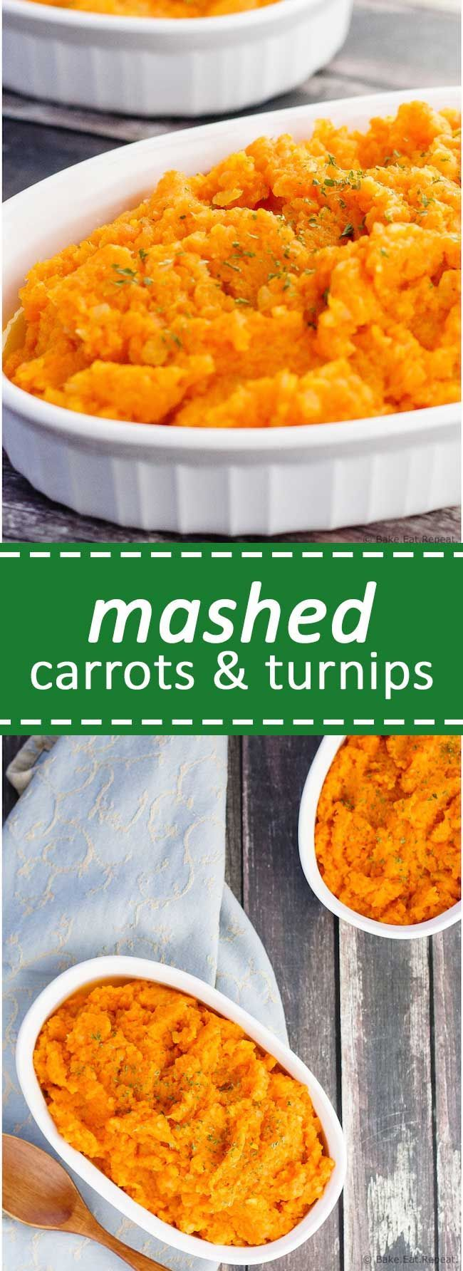 Mashed Carrots and Turnips - An easy low carb alternative to mashed potatoes for your Thanksgiving dinner, these mashed carrots and turnips are a little bit sweet and oh so tasty!