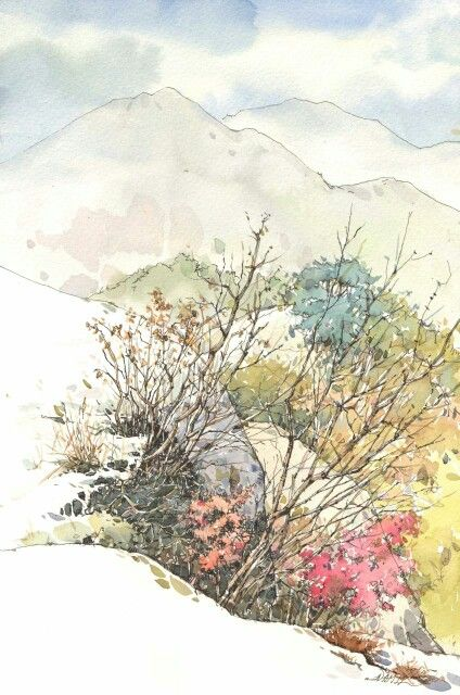 NAMIL. 북한산에서 pen, watercolor on paper.