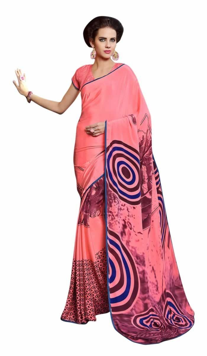 buy saree online Pink Colour Crepe Printed Party Wear Saree Buy Saree online - Buy Sarees online