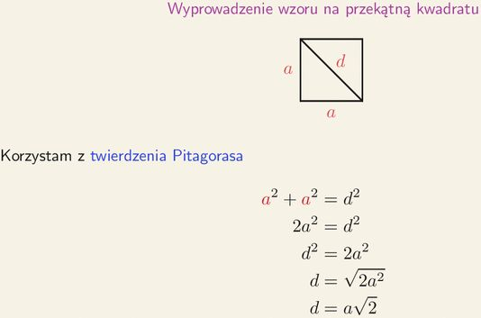 Wzór na przekątną kwadratu