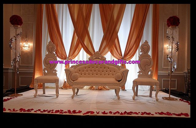 Golden Nikkah Stage Decor- Love Seats King & Queen Chairs ...