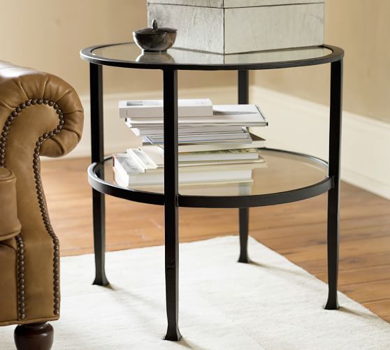 Tanner Round Side Table | Pottery Barn  Would look great between the club chairs