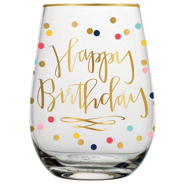 Happy Birthday Confetti Stemless Wine Glass