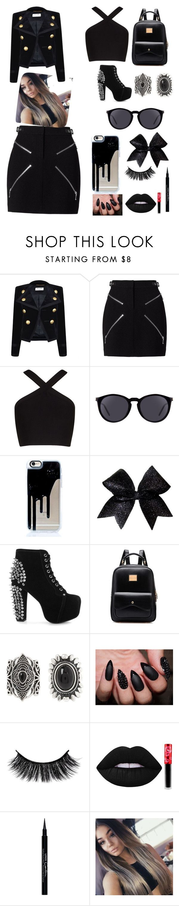 """Cute bad girl outfit"" by americapatino ❤ liked on Polyvore featuring Yves Saint Laurent, Alexander Wang, BCBGMAXAZRIA, Jeffrey Campbell, New Look, Lime Crime and Givenchy"