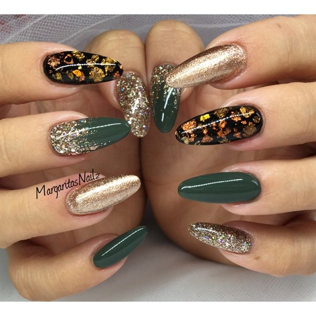 Army green and rose gold nail art