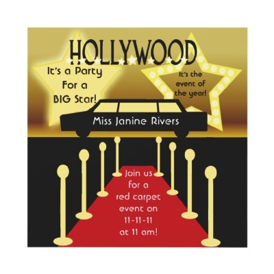 Customized Hollywood Glamour Birthday Invitation. Party  EinladungsvorlagenGeburtstags Party EinladungenEinladungen ...