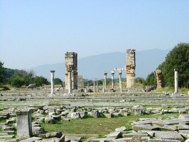 Ancient ruins of Philippi - Greek Macedonia. Philippi named after Philip II is historically significant. The fate of the Roman empire was determined here at the Battle of Philippi in 42 BC. St Paul visited here in 49 AD and was imprisoned.