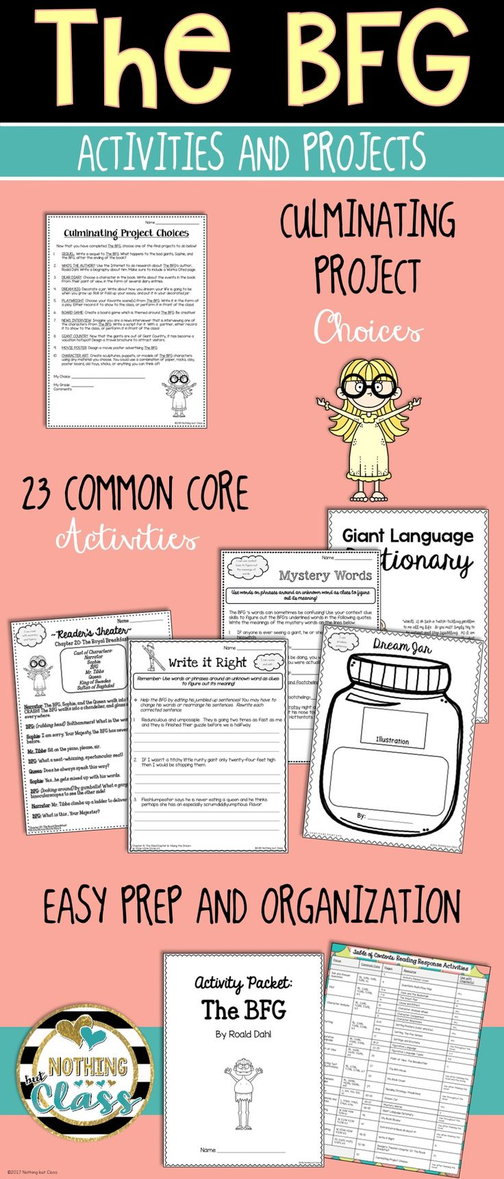 """This activity packet for The BFG, by Roald Dahl, contains 56 pages of creative Common Core-aligned resources. Projects, graphic organizers, and team tasks help you delve deep into this adventurous story.  Focus standards include character analysis, context clues, point of view, figurative language, and more. All Common Core activities have the Common Core code listed in the bottom corner, along with a student-friendly """"I Can"""" statement."""