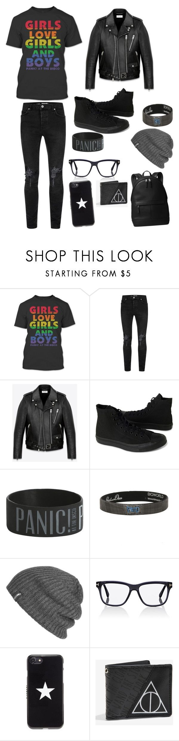 """""""Panic! At the Disco outfits"""" by pushmetohell ❤ liked on Polyvore featuring Topman, Yves Saint Laurent, Converse, Hot Topic, Outdoor Research, Tom Ford, Givenchy, Warner Bros. and Michael Kors"""