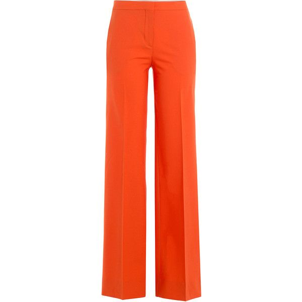 Diane von Furstenberg Wide Leg Wool Pants ($275) ❤ liked on Polyvore featuring pants, orange, shiny pants, woolen pants, orange pants, red wide leg trousers and wide-leg pants