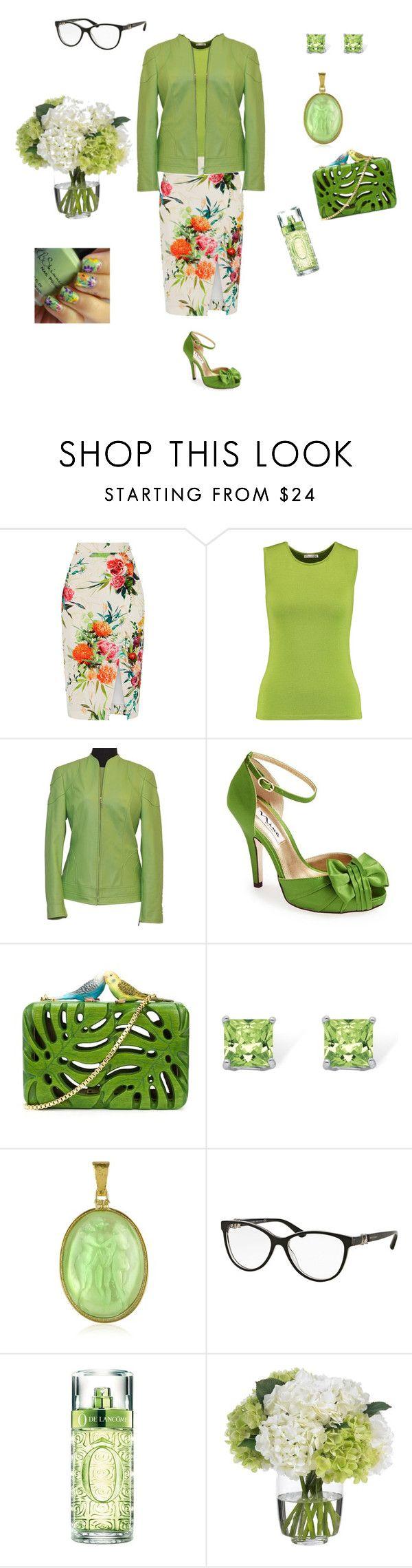 """Spring Green"" by kitty-hiruma ❤ liked on Polyvore featuring Oasis, Oscar de la Renta, ESCADA, Nina, Sarah's Bag, Palm Beach Jewelry, Tagliamonte, Bulgari, Lancôme and Diane James"