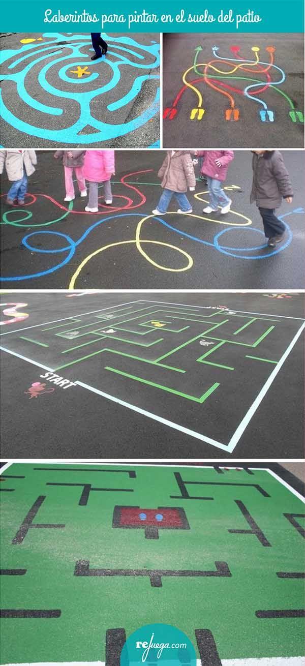 Laberintos gigantes para pintar en el patio del colegio