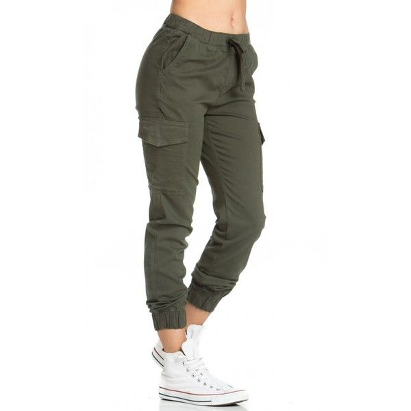 Drawstring Cargo Jogger Pants in Olive ($40) ❤ liked on Polyvore featuring pants, military green pants, draw string pants, pocket pants, drawstring pants and cotton drawstring pants