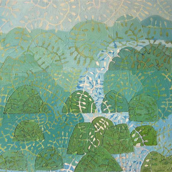'little river' 2014 Ivonne Mace. 1m x1m mixed media/acrylic on linen.Sold.