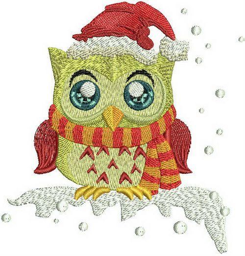 Owl in Santa hat machine embroidery design. Machine embroidery design. www.embroideres.com