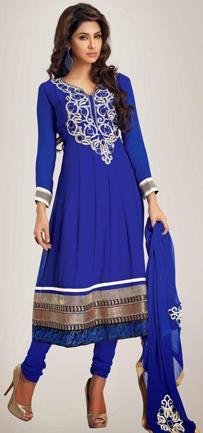 $73.98 Blue Faux Georgette Thread Work Churidar Salwar Suit 25250