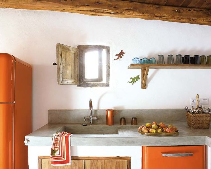<3 that little window: Home, Decor Ideas, Orange Kitchens, Furnishing, En Formentera, House, A House, Summer Houses, Concrete Countertops