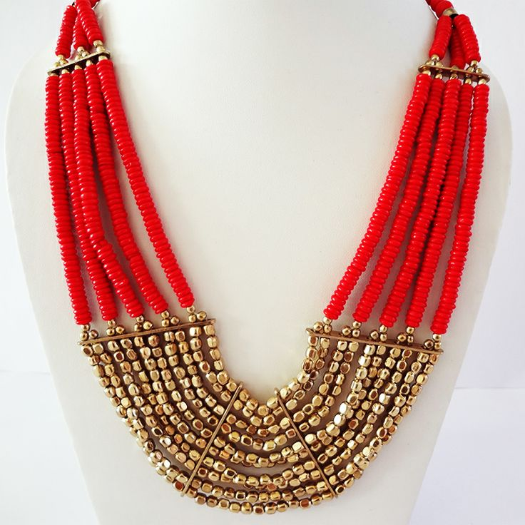 Gorgeous Red Beaded necklace by Chobhi