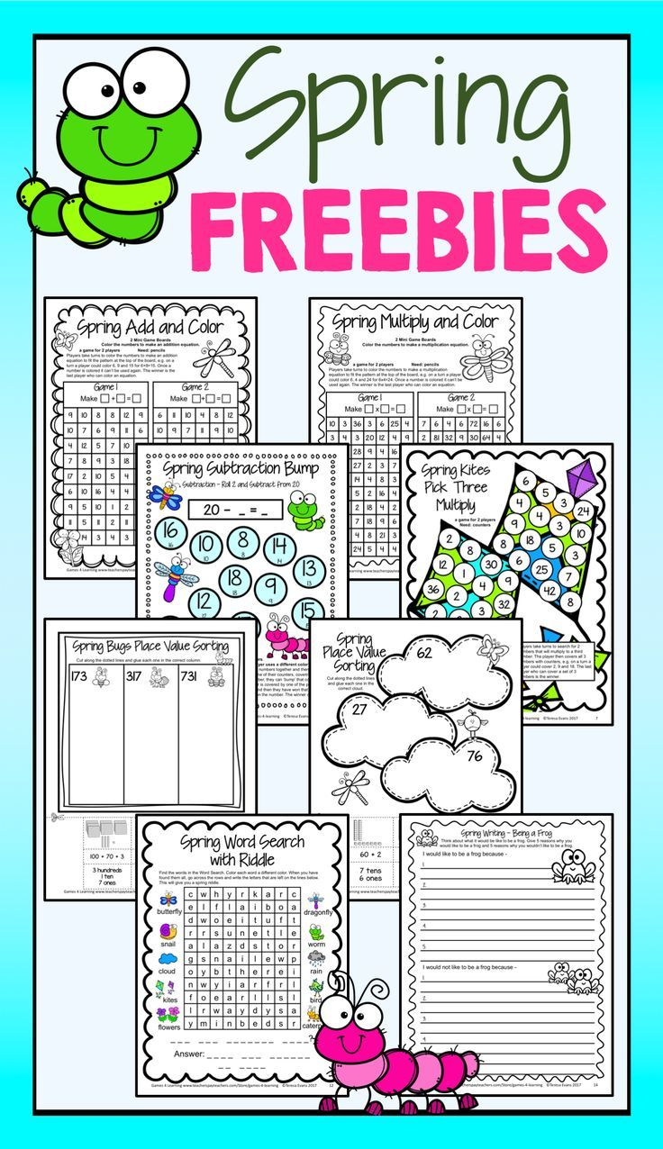 Spring FREEBIES from Games 4 Learning - Math games, Place Value, Word Search, Writing Prompts