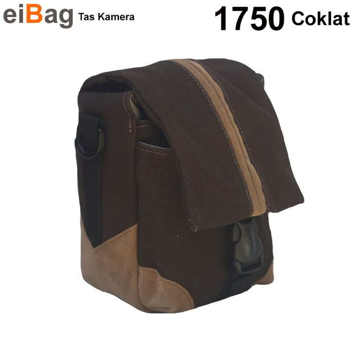 Tas Kamera Mirrorless kode 1750 coklat dengan bahan terbuat dari kanvas coklat tua dan variasi suede.