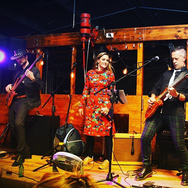 """Xmas party in a sheep shearing shed! For @jackspointqt and @amisfieldwinery - merry Christmas team that was a riot. """"Can you do grunge"""" they asked - lol - killing in the name of, is the only way to celebrate the season. We do whatever you need.  #offpiste #liveband #offTheTrack #queenstownband #queenstownlive #eventband #singerslife #xmasparty #queenstownlivemusic #nirvana #rageagainstthemachine #tuesdaynight #corporateband #prs #custom22 #plaid #docmartens #alllive"""