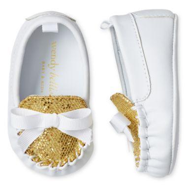 Wendy Bellissimo Infant Girls Teagan Gold Glitter Moccasins $24