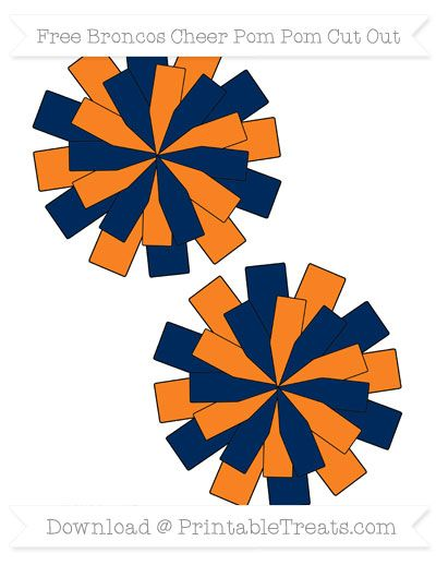 Medium Broncos Cheer Pom Pom Cut Outs