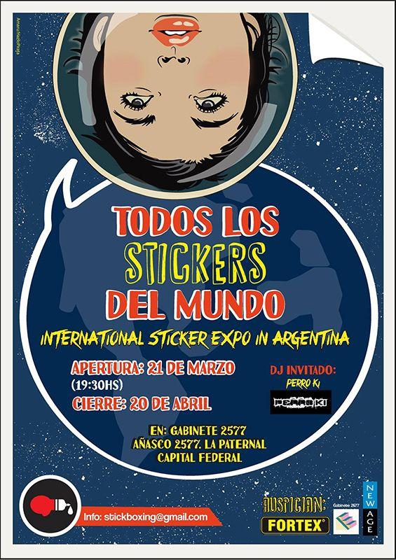 """Inauguración de la exposición internacional de stickers """"Todos los stickers del mundo"""", Argentina."""