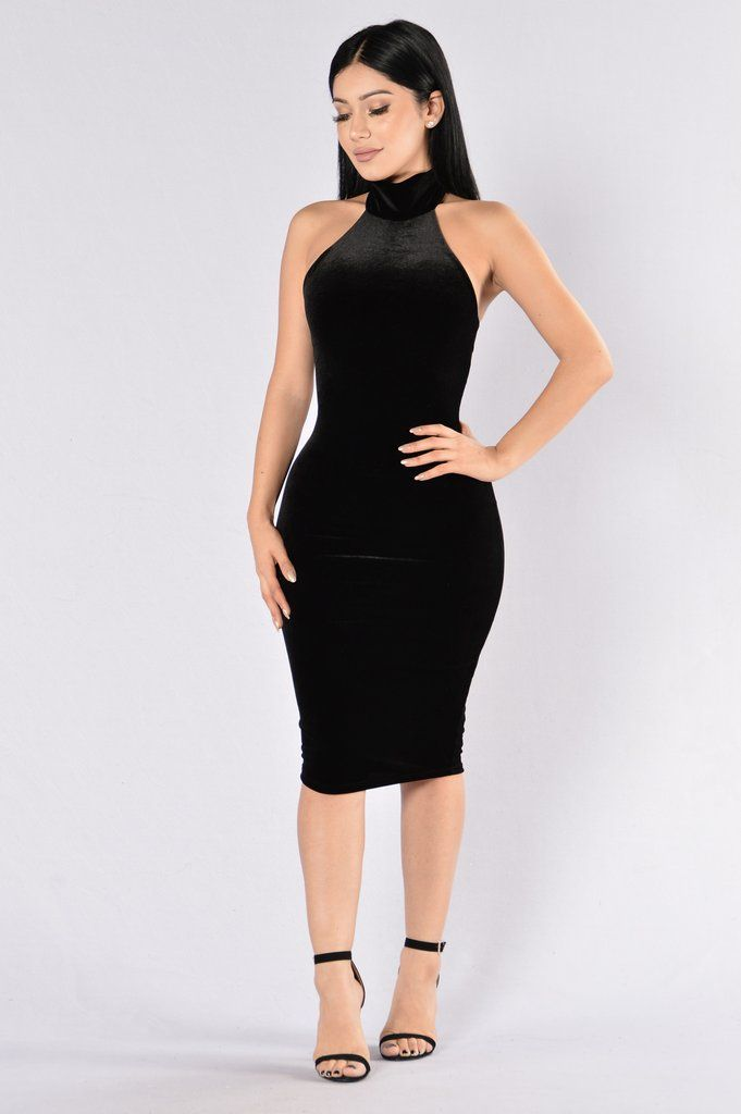 - Available in Black and Wine - Mock Neck - Halter with Tie - Open Back - Midi Length - Lined - Made in USA - 95% Polyester 5% Spandex