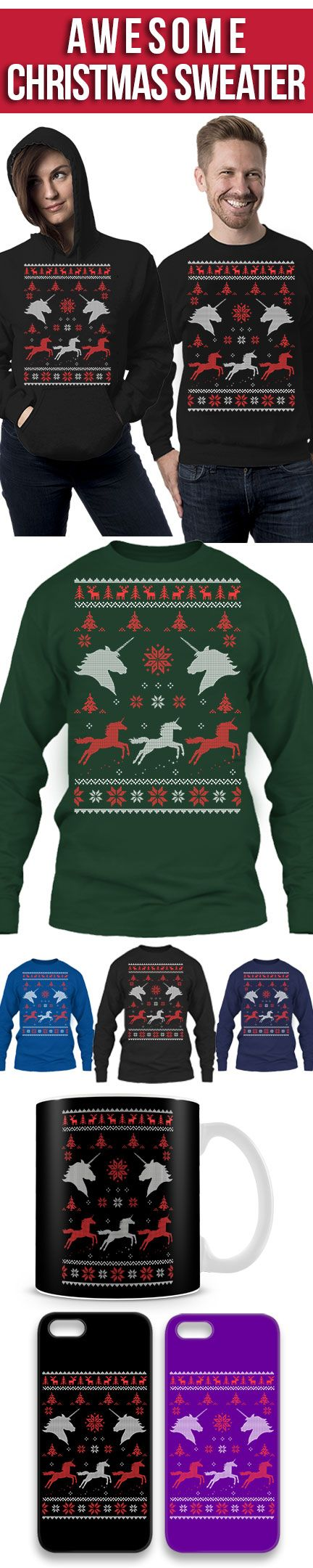 Unicorn Ugly Christmas Sweater! Click The Image To Buy It Now or Tag Someone You Want To Buy This For. #unicron