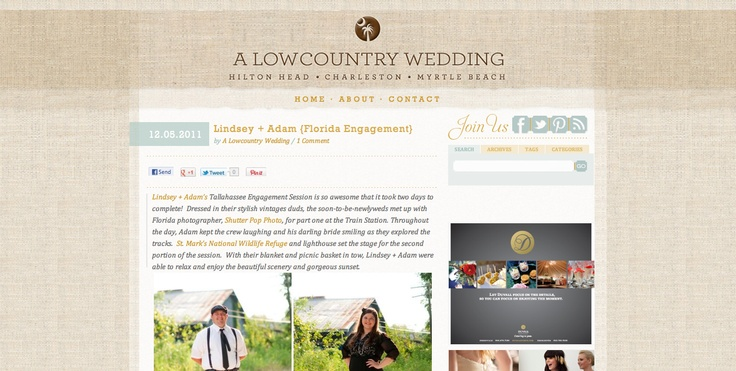 A LowCountry Wedding Feature:  Internet Site,  Website, Wedding, Web Site
