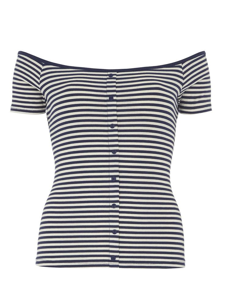 Petite button front bardot top - Dorothy Perkins