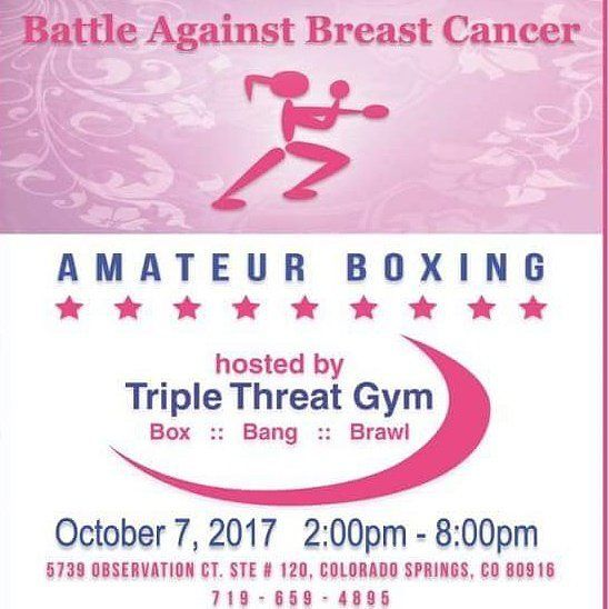 Boxing! Live Music! October 7th at Triple Threat Gym located at 5739 Observation Ct in Colorado Springs. It's the Battle Against Breast Cancer starting at 2pm. All Ages event! Look forward to seeing yall there.
