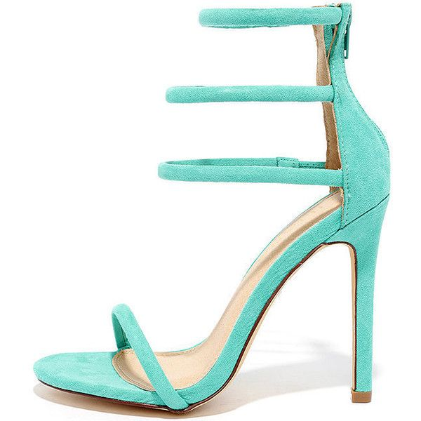 Floor is Yours Mint Suede High Heel Sandals ($31) ❤ liked on Polyvore featuring shoes, sandals, green, elastic sandals, green suede shoes, heeled sandals, strappy heeled sandals and mint green shoes