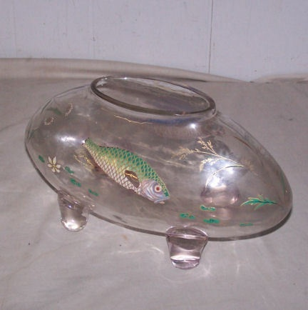 Antique fish bowl harrach enameled fish designs on sides for Cool fish bowls