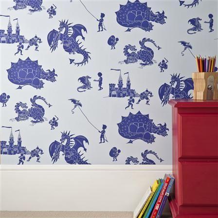 Paperboy Wallpaper Ere Be Dragons - Blue & Blue