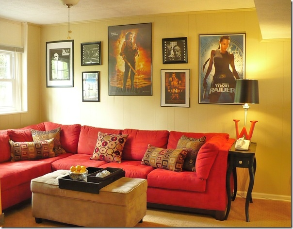 Stylish And Fascinating Movies Room Decor Small Movie Design With Pink Sofa Posters Home Ideas