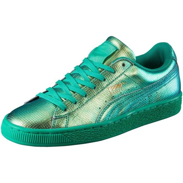Puma Basket Holographic Women's Sneakers ($80) ❤ liked on Polyvore featuring shoes, sneakers, green flash, grip shoes, puma shoes, lacing sneakers, holographic trainers and green shoes