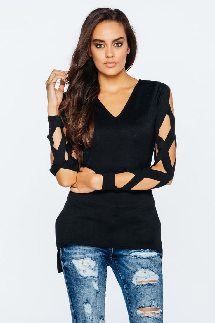 Laser Cut μακρυμάνικο μαύρο μπλουζακι πιο μακρύ στο πίσω μέρος