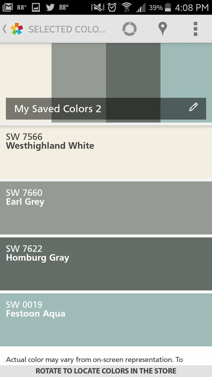My exterior palette...  Earl Grey Siding, Homburg Gray Shutters, Festoon Aqua Doors, and Westhighland White Trim