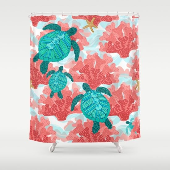 Sea Turtles in The Coral - Ocean Beach Marine Shower Curtain                                                                                                                                                     More