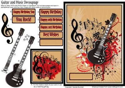 Guitar and Music Decoupage on Craftsuprint designed by Sandie Burchell - Black Guitar on a Beige Sunburst and Red Grungy background with musical notes surrounded by a silver embossed frame. A small image is included for the inside or back of your card or use as a matching gift tag. Sentiments read: 'You Rock!', 'Happy Birthday', 'Happy 18th Birthday', 'Happy 21st Birthday', 'Happy Birthday Son', 'Best Wishes' or Blank for your own peel-off lettering or stamp. Ideal card for anyone into ...