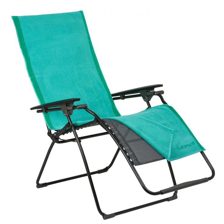 Serviette 60 x 180 cm pour chaise Lafuma  avec trois poches de rangements au dos.