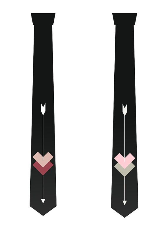 Hearts and arrow necktie. Creative tie. Gift necktie.