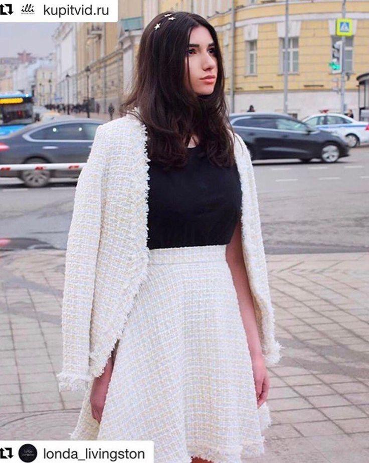 Лонда Ливингстон на неделе моды в Москве в костюме illi. -костюм из твида -твидовый костюм - юбка из твида -твидовая юбка- жакет из твида - твидовый жакет