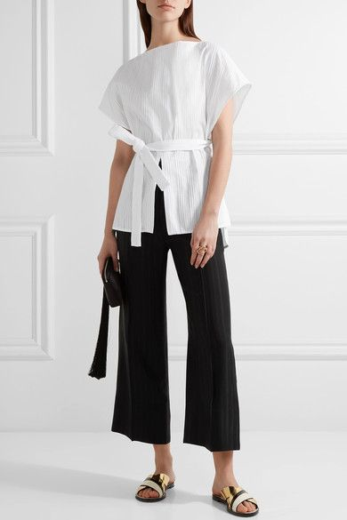 Black satin-jacquard Concealed button, hook and zip fastening at front 100% viscose; lining: 100% silk Dry clean