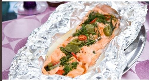 Pink salmon baked in the oven